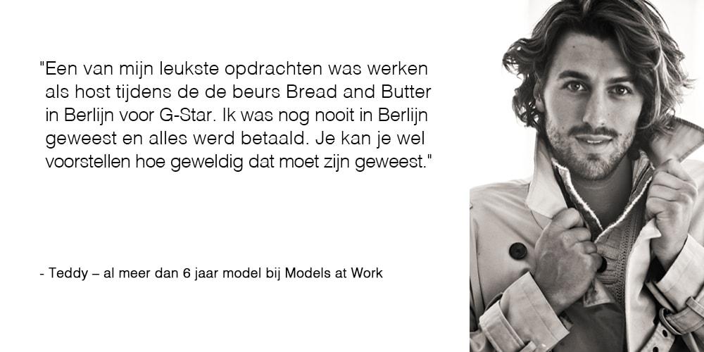 Teddy vertelt over zijn leukste klus voor Models at Work